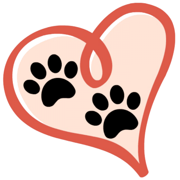 dog paw and hearts